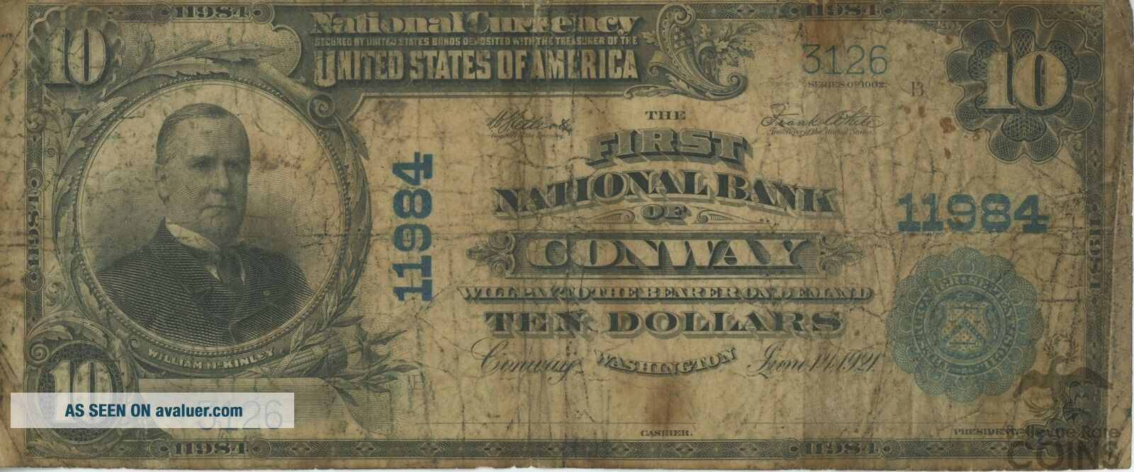Rare 1902 United States $10 First National Bank of Conway,  Wa CH 11984 Note