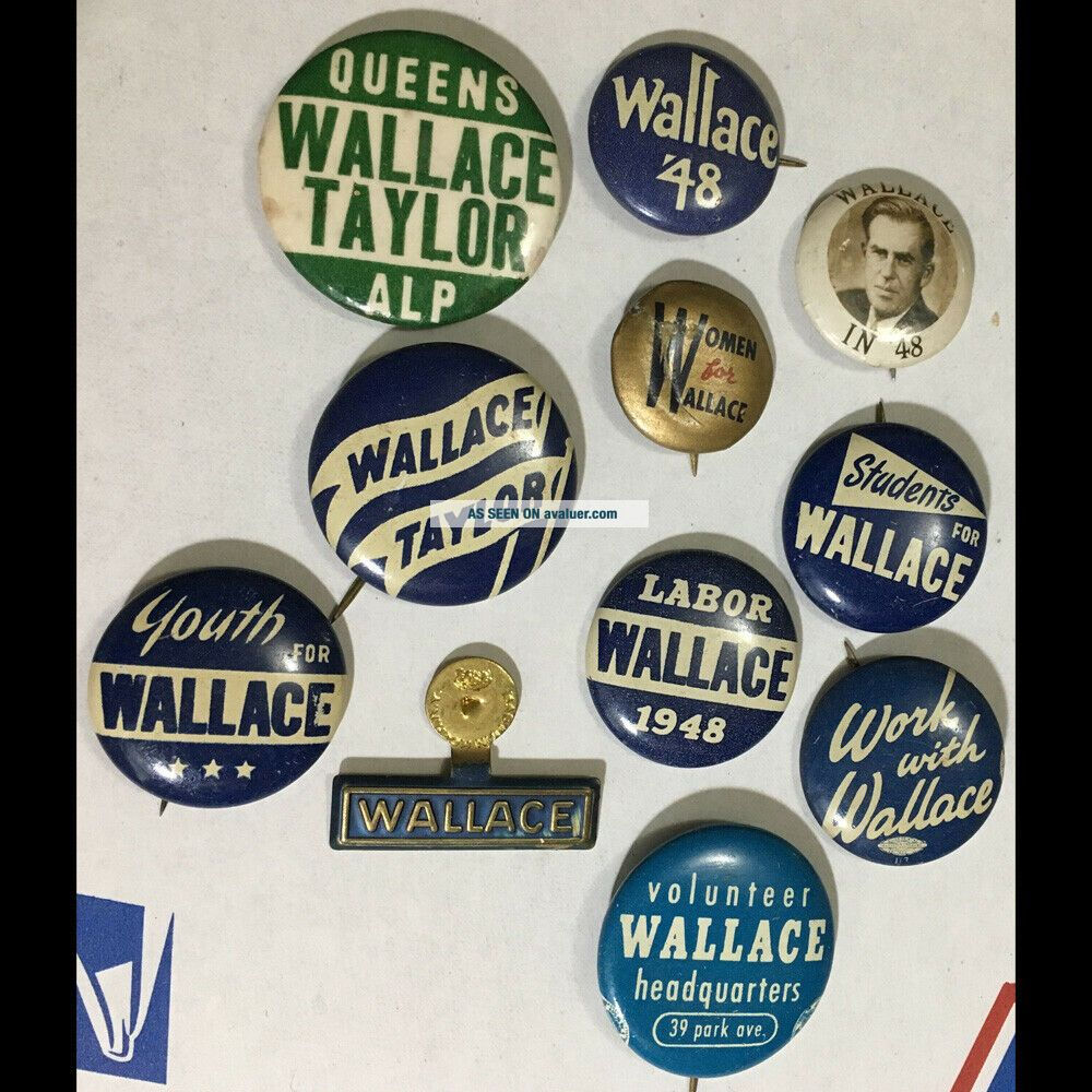 10 org vintage 1948 cello/tin litho pinback buttons - Henry Wallace US President
