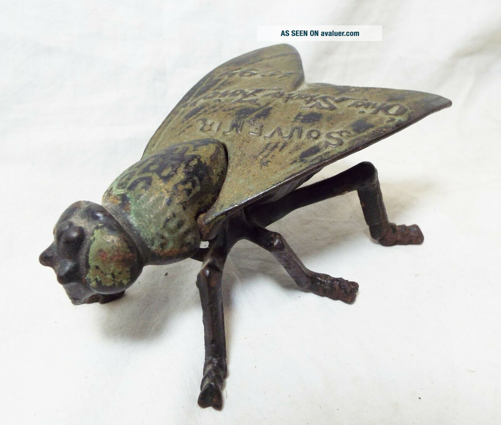 RARE Old 1897 SIMPSON IRON Cast Iron OHIO STATE FAIR Fly Souvenir MATCH HOLDER