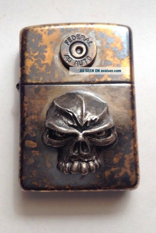 Collectible Rare Steel Flame/Emerson Zippo Lighter Skull.  45 Federal Shell