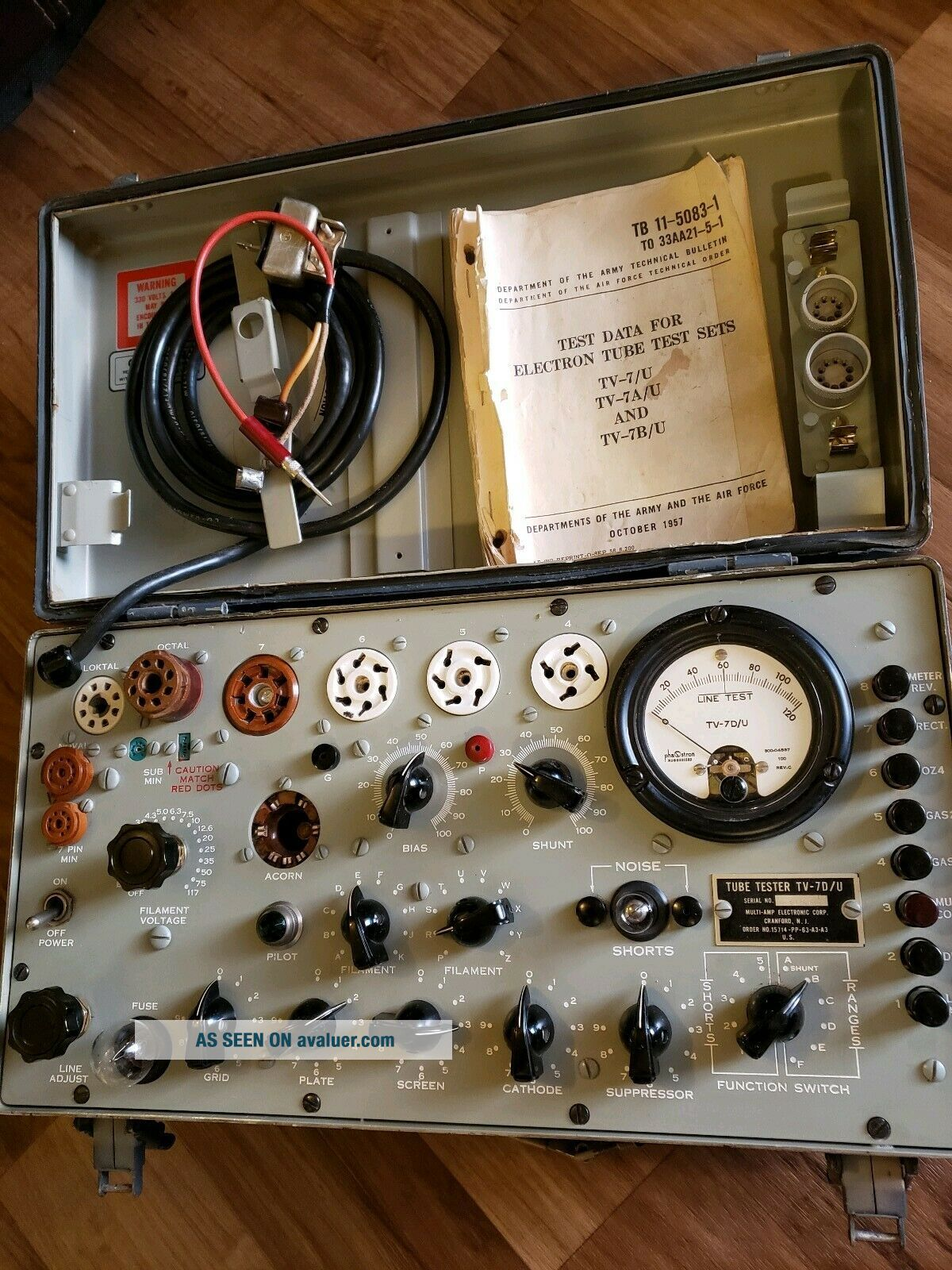 TV - 7D/U Military Conductance Tube Tester Vintage American made