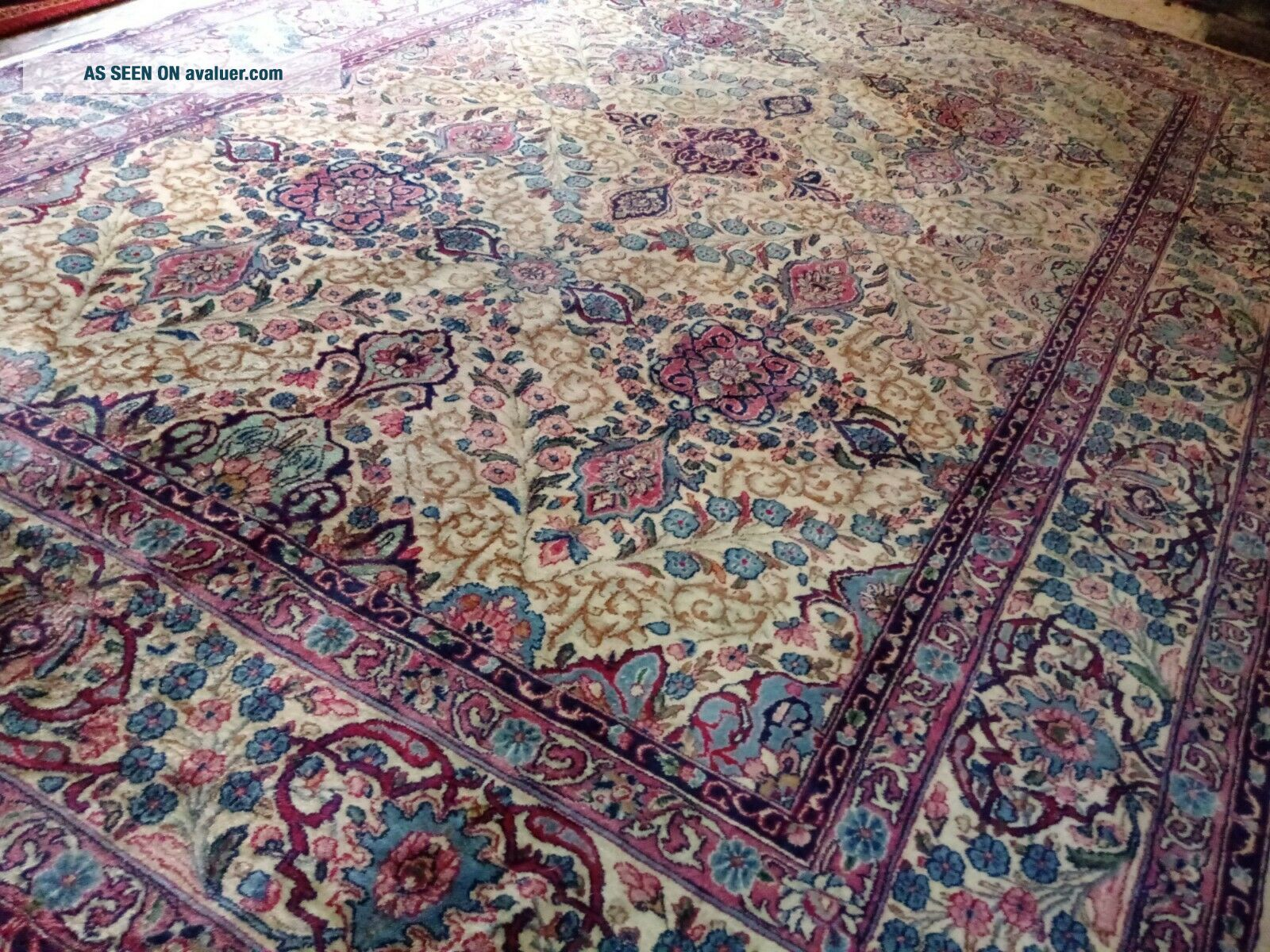 EXTRA LARGE Vintage Handknotted Floral PERSIAN Wool Rug 12x9ft Oriental Keshan