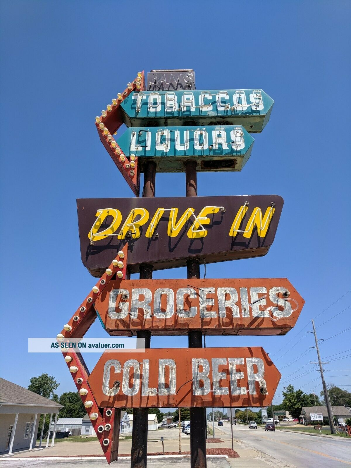 vintage neon custom sign tobacco,  liquors,  groceries,  cold beer,  drive in
