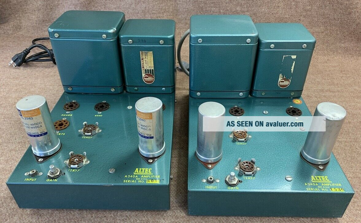 2 Altec A 340A 6550 tube studio grade vintage audio amplifiers Mono Block A340A