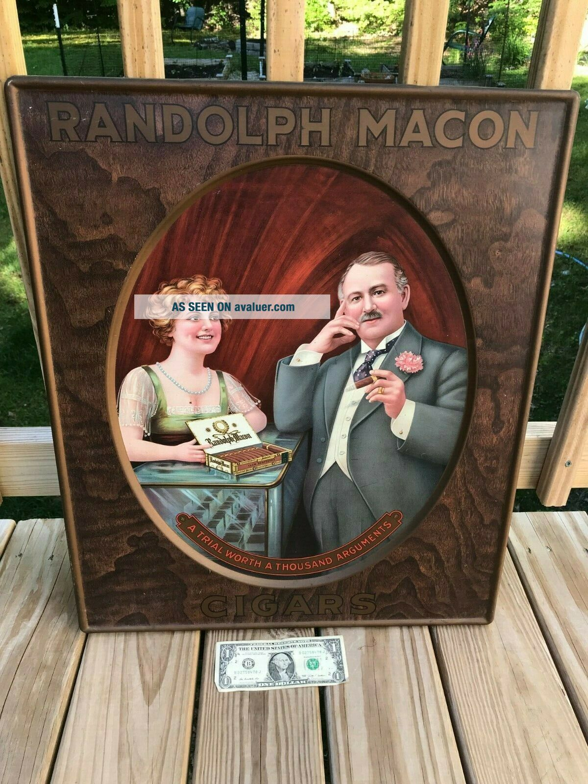 EARLY RANDOLPH MACON CIGAR TOBACCO TIN ADVERTISING SIGN OLD VINTAGE ANTIQUE