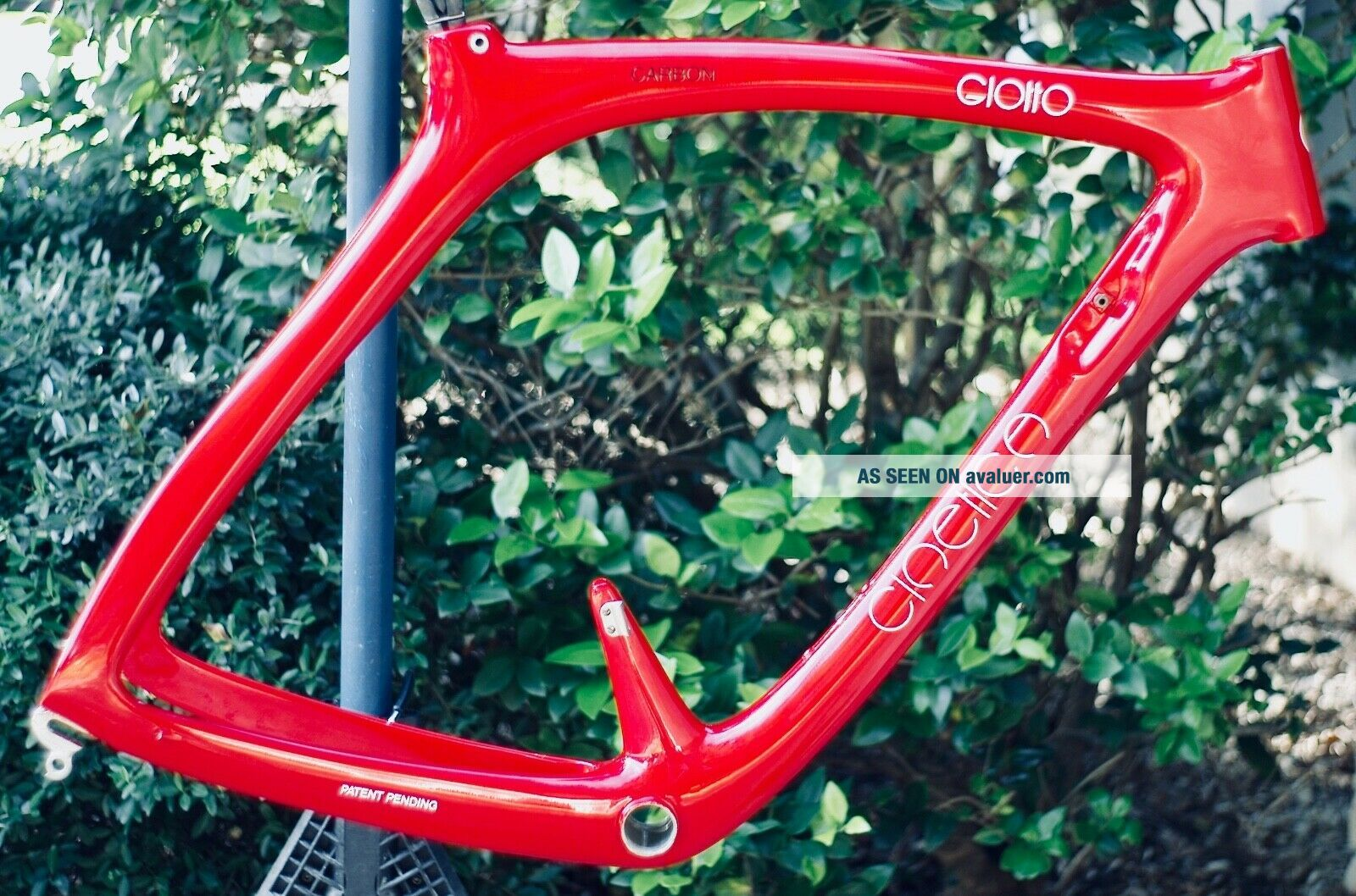 "Rare 1989 Carbon Cinelli ""Cinetica"" bicycle road frame,  Campagnolo.  Ferrari red."