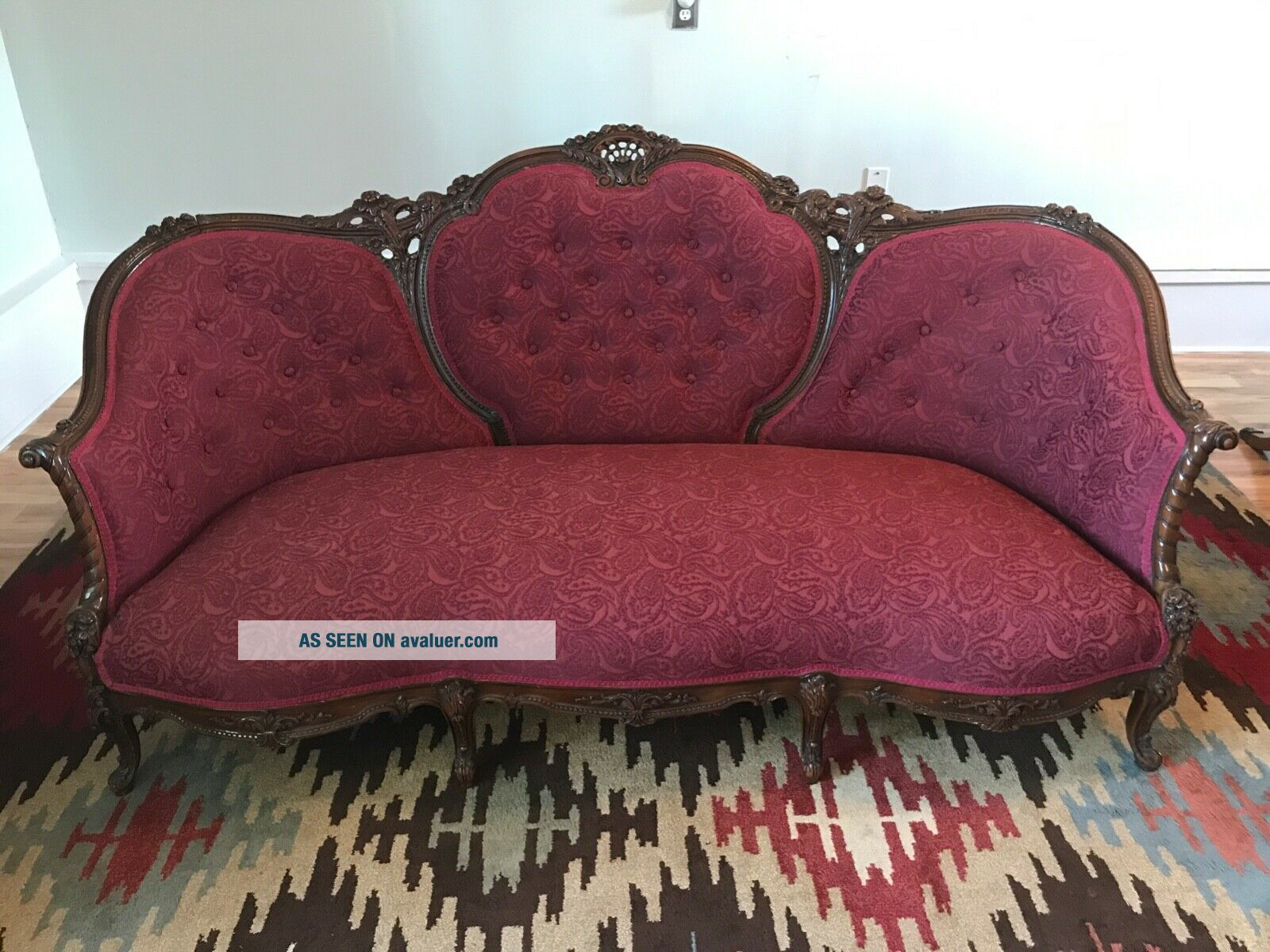 Antique Victorian red couch and chair reupholstered and wood refinished
