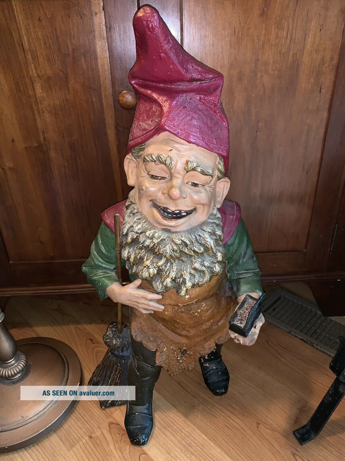 Antique Rare 27 Inches tall German Terra - cotta Gnome,  Statue Elf 1935