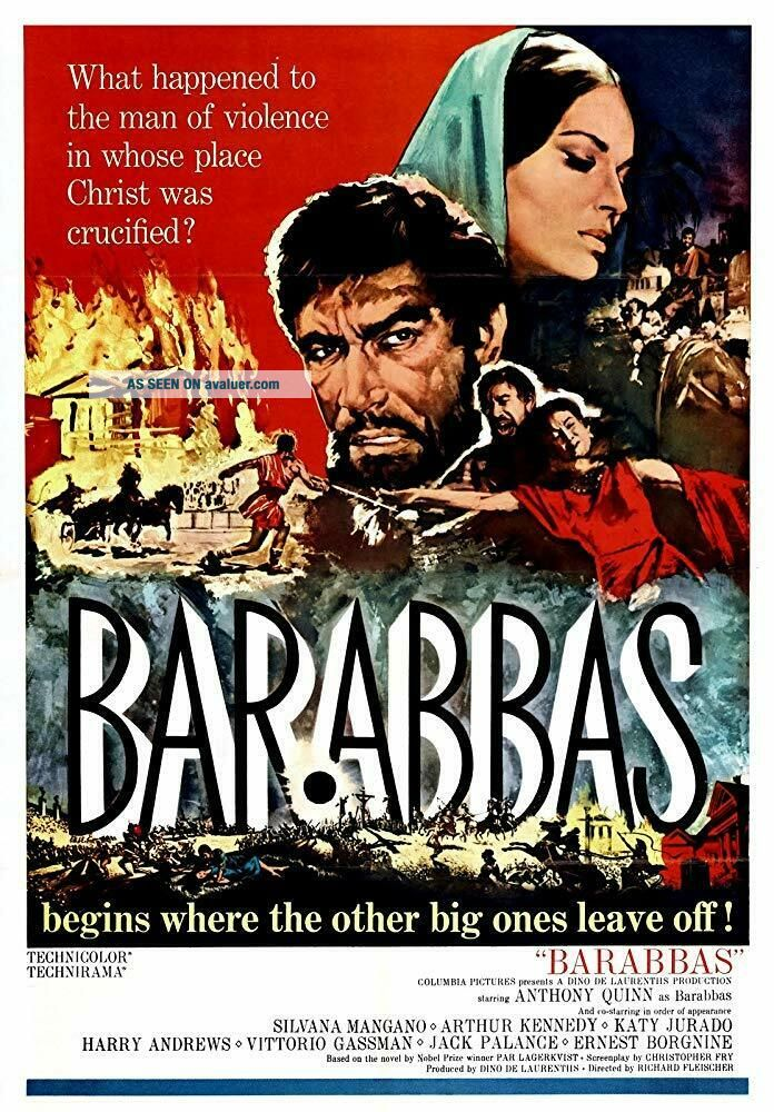 RARE 16mm Feature: BARABBAS (I B TECHNICOLOR / LETTERBOXED) ANTHONY QUINN - - UNCUT