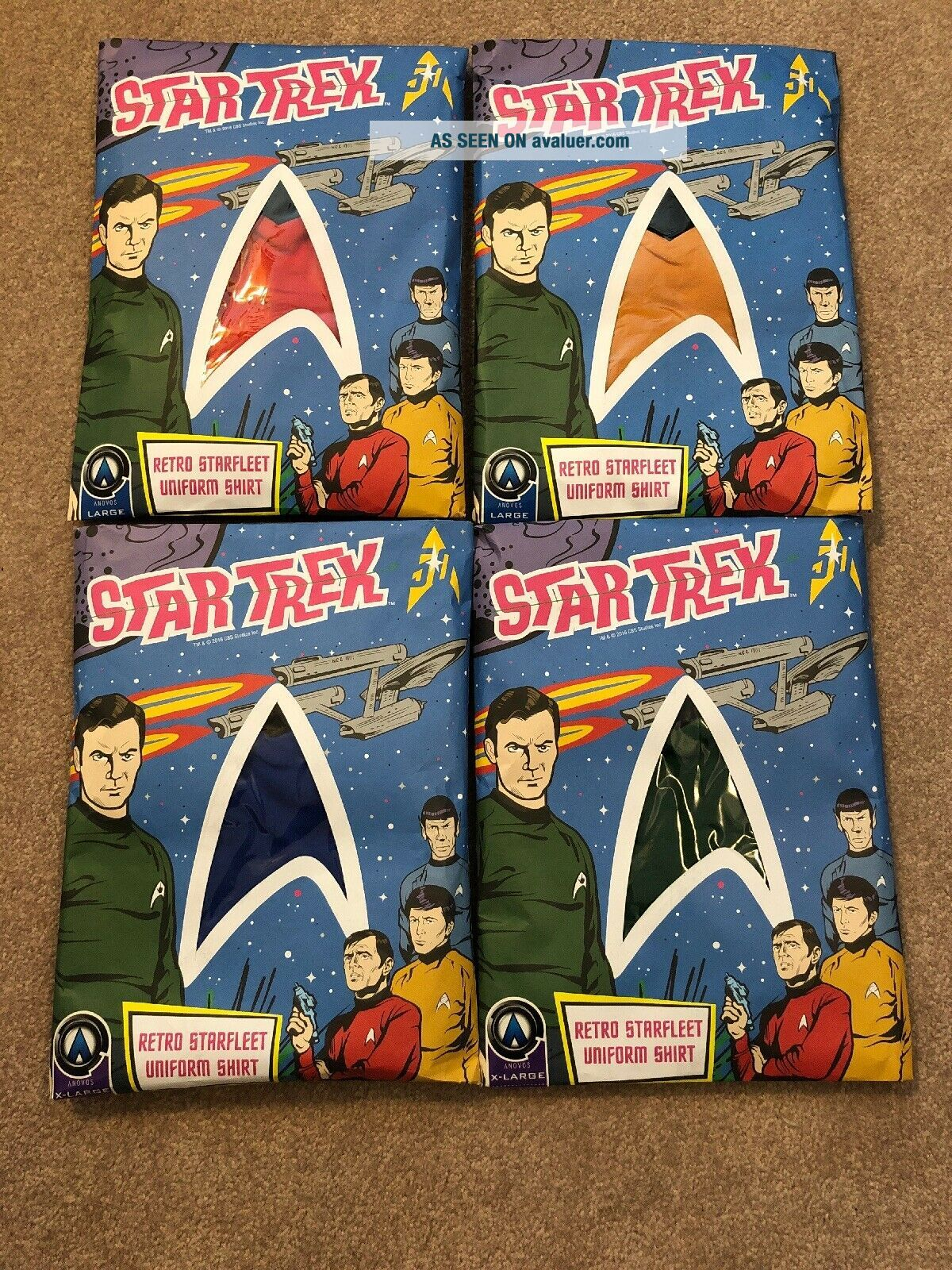 Anovos Star Trek Animated Shore Leave Tunic Shirt Complete Set,  Extremely Rare
