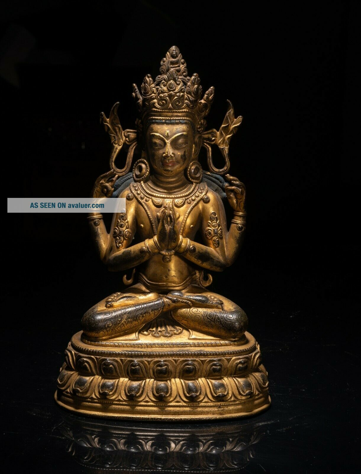 19th C.  Chinese Tibetan Antique Gilt Bronze Buddha