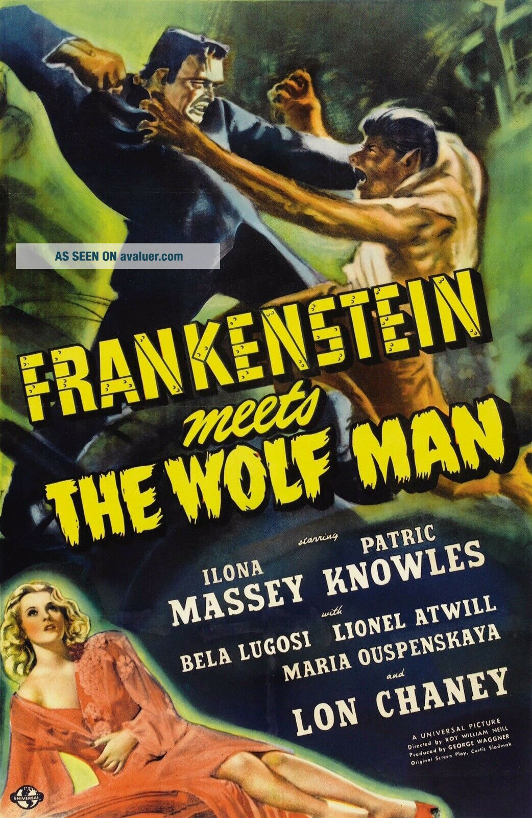 16mm Frankenstein Meets the Wolfman Feature Movie Vintage 1943 Horror